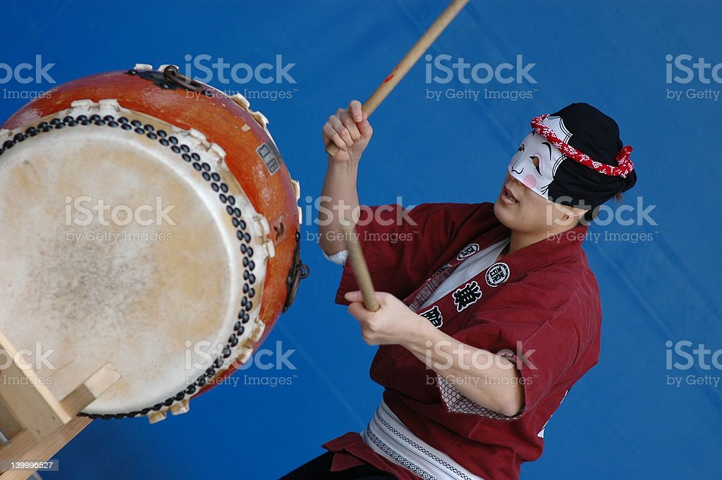 taiko drum performer stock photo