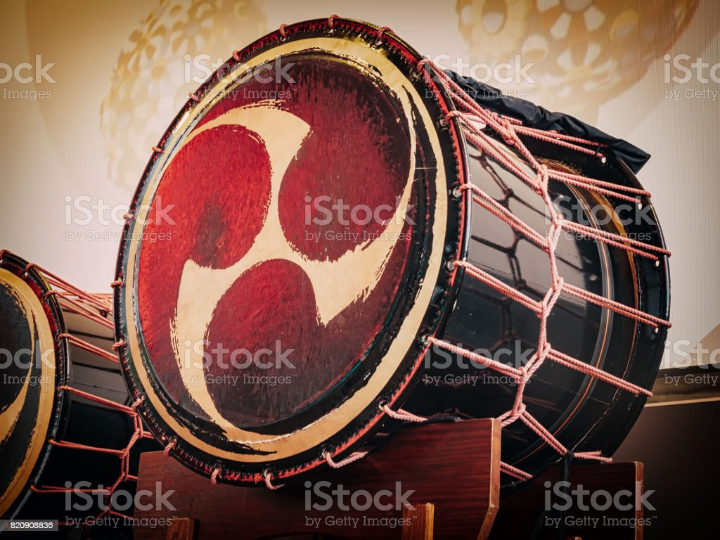 Taiko drums o-kedo on scene background. Musical instrument of Asia stock photo