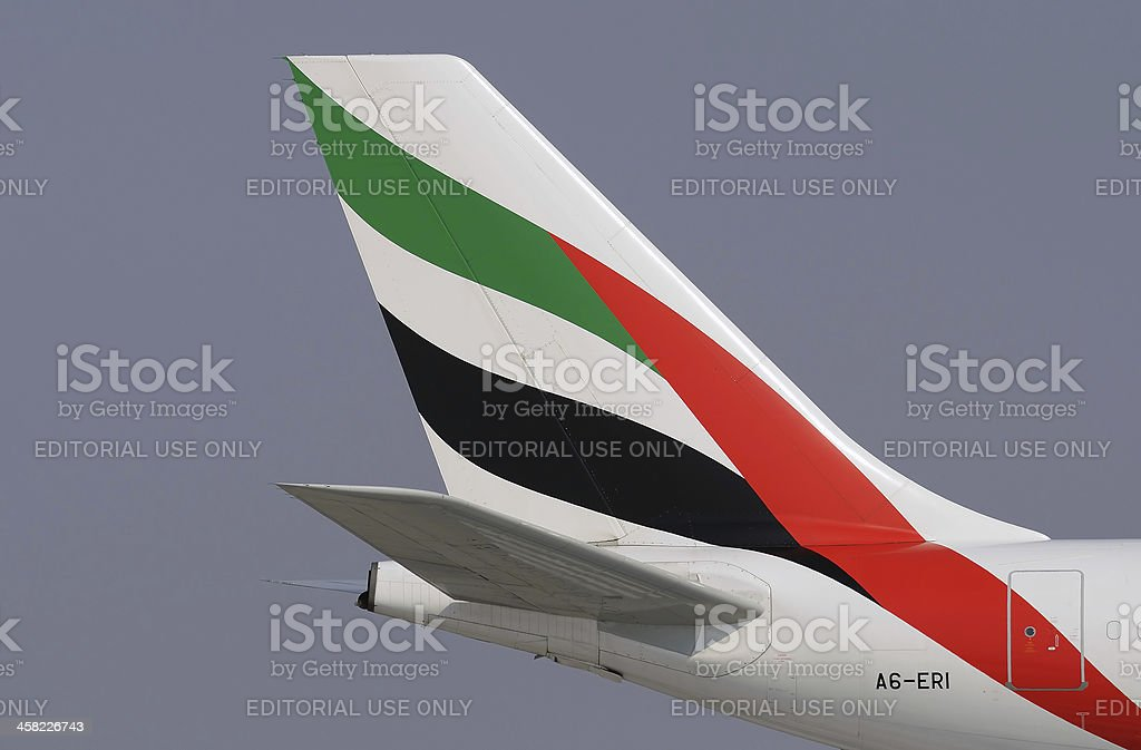 Tail aircraft Airbus A340 Emirates Airline Close up stock photo