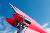 Tail Fin of Classic Car, 1959 Pink Cadillac de Ville