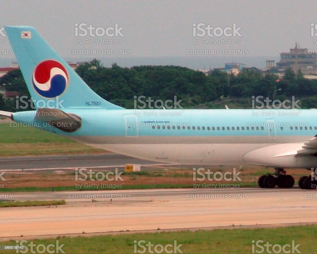 Tail From Korean Air Taxiing To Runway To Take Off stock photo