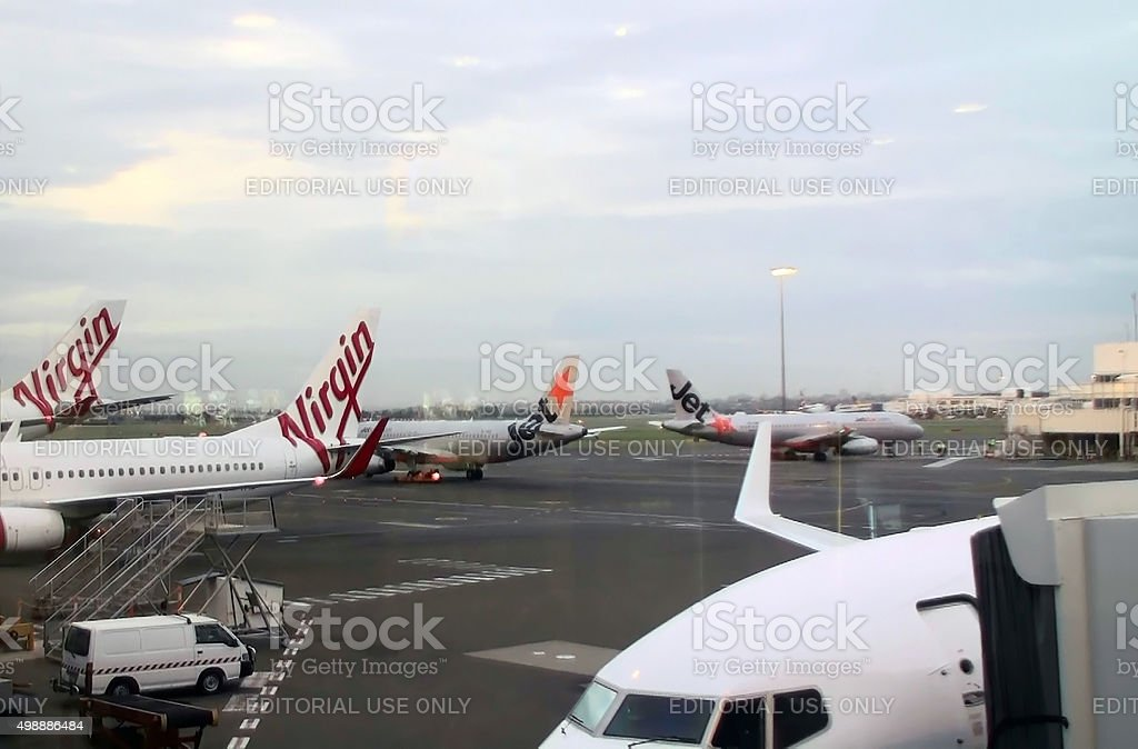 Tail Of Virgin Australia Airplane Including Two Jetstar Airways Airplane.Sydney.Airport.Australia stock photo