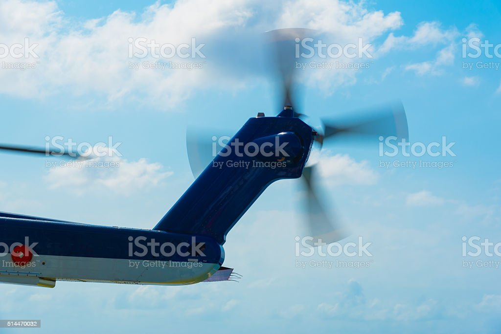 tail rotor of helicopter stock photo