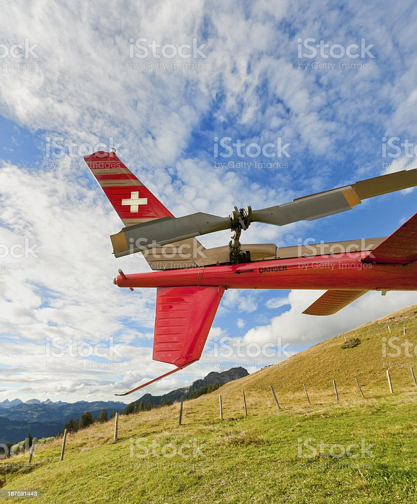 tail rotor of rescue helicopter on mountain royalty-free stock photo
