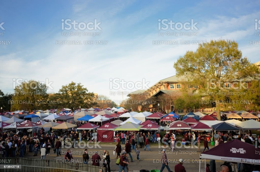 Tailgating in the fall stock photo