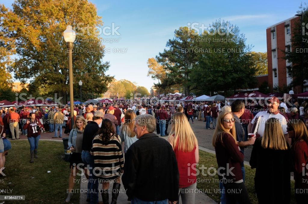 Tailgating on campus stock photo