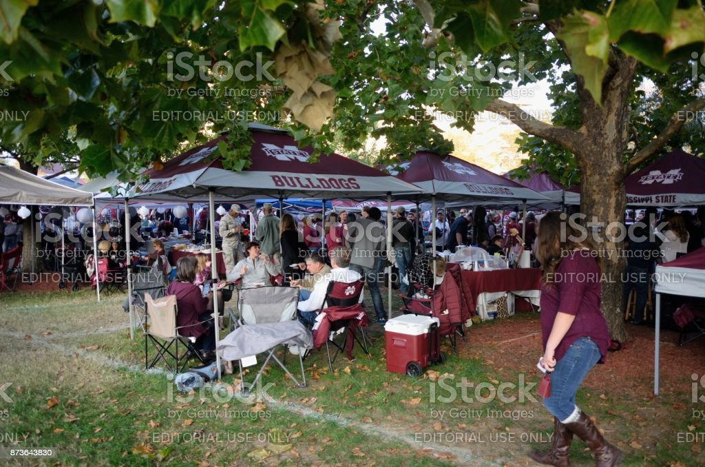 Tailgating under the trees stock photo