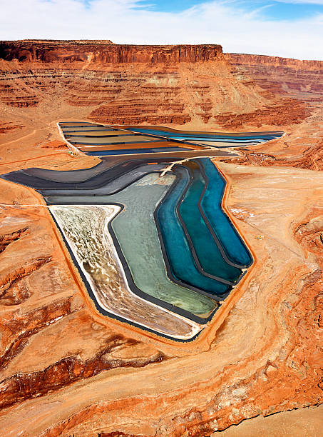 Tailings pond in rural Utah. stock photo