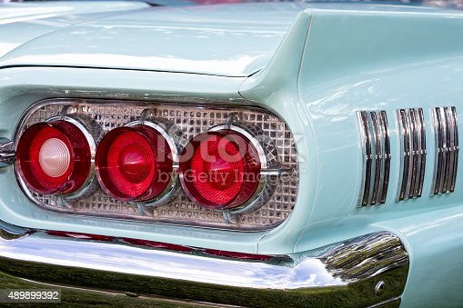 American classic car rear light and tail fin