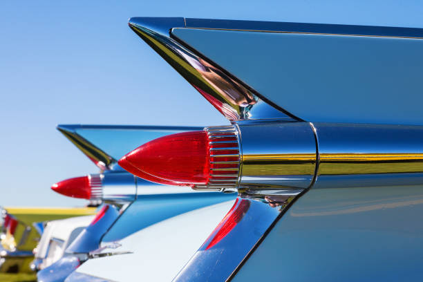 taillights on a vintage cadillac - classic cars stock photos and pictures