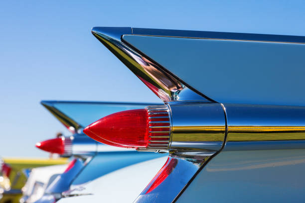 taillights on an old cadillac - classic cars stock photos and pictures