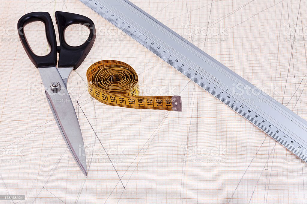 tailor instruments at graph paper royalty-free stock photo