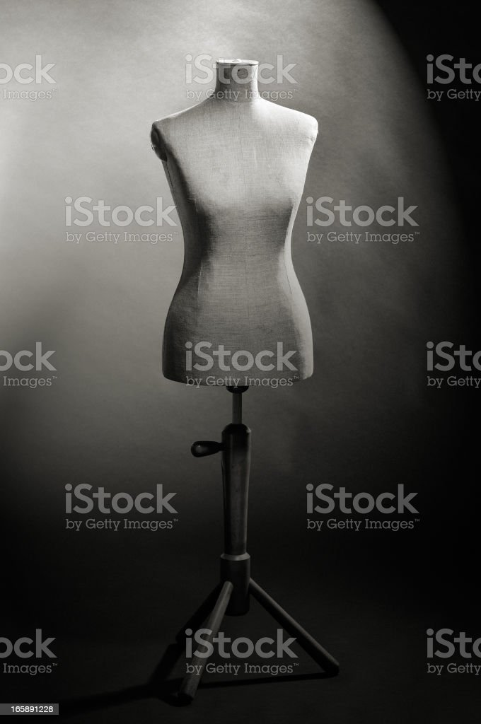 Tailor's female mannequin torso in shadow stock photo