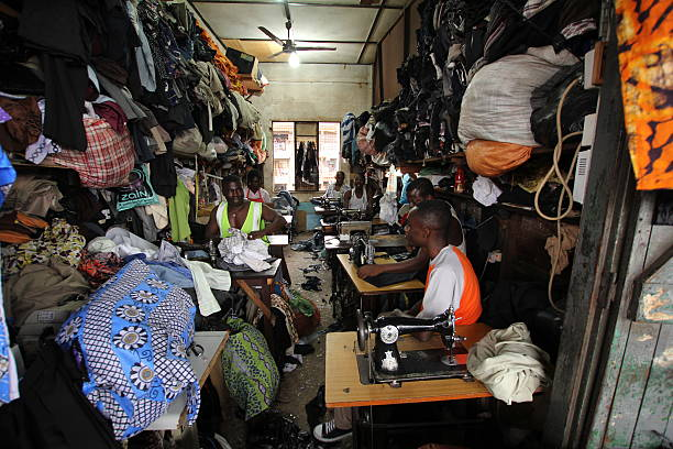 tailors in ghana, west africa - kente cloth stock photos and pictures