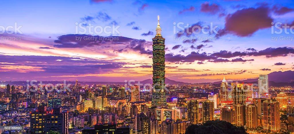 Taipei 101 at night, Taipei, Taiwan stock photo