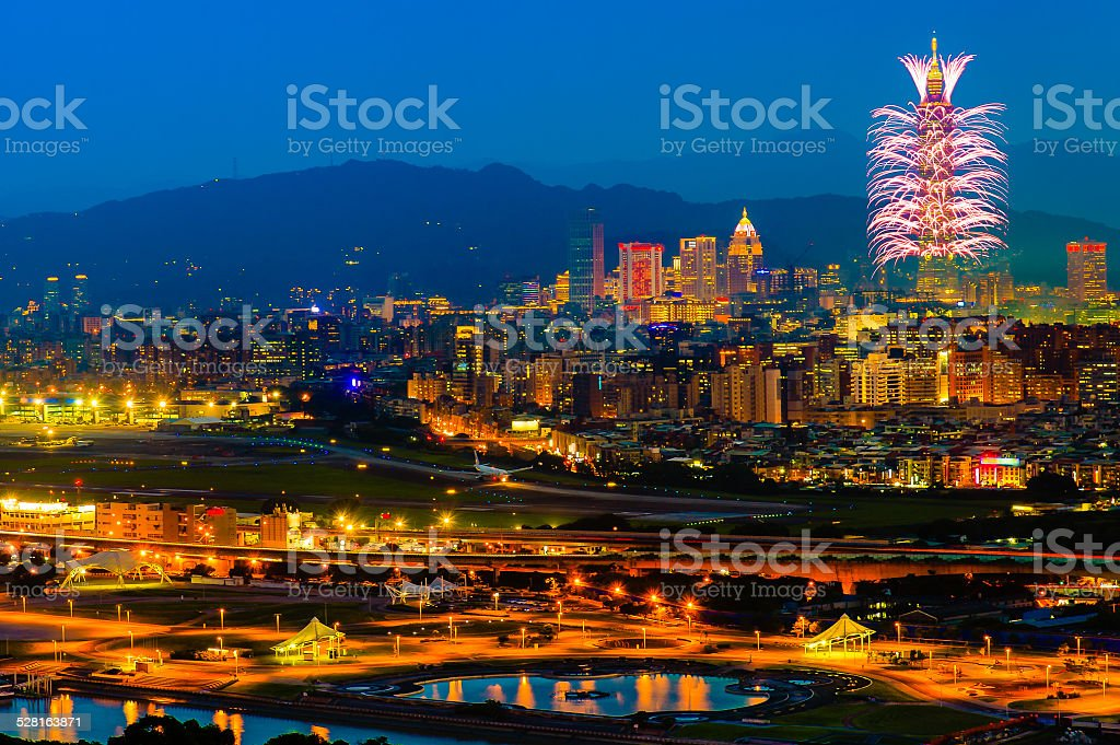 Taipei 101 firework show stock photo