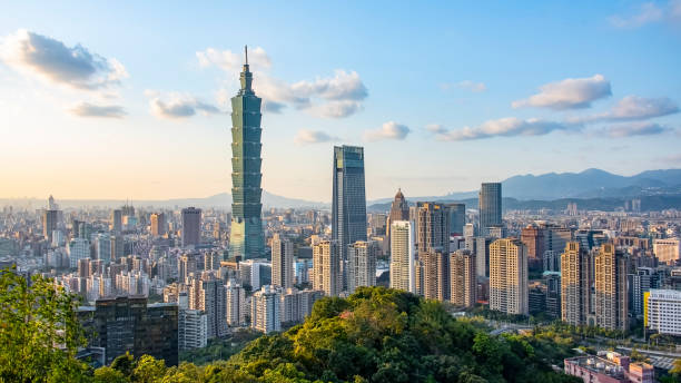 Taipei city panorama in Taiwan Taipei city viewed from the hill in daytimet, Taiwan taiwan stock pictures, royalty-free photos & images