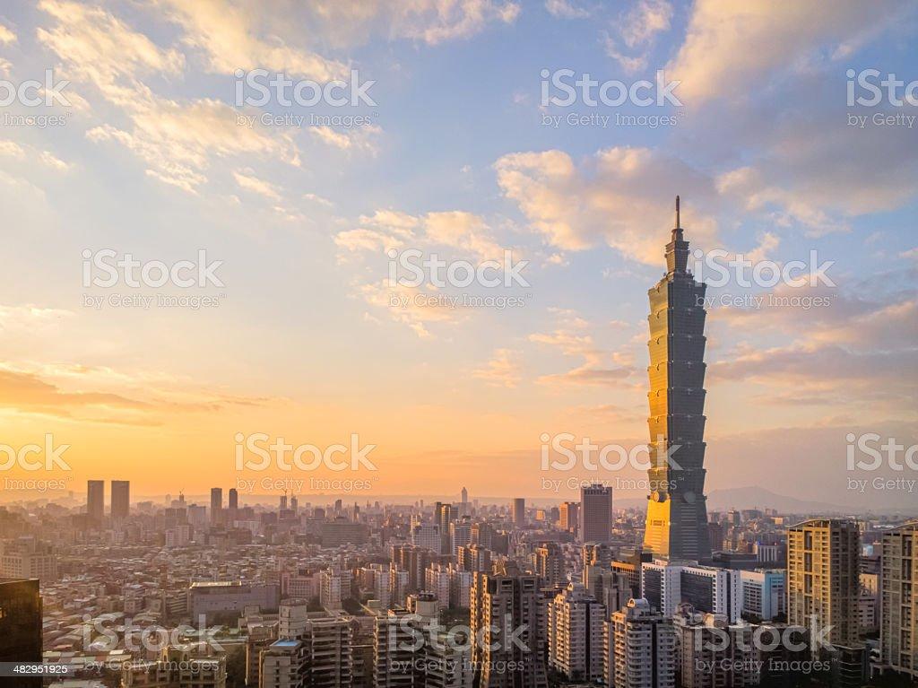 Taipei city sunset scenery stock photo