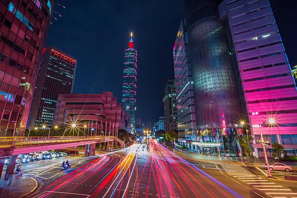 Taipei cityscape at twilight in Taiwan city. stock photo