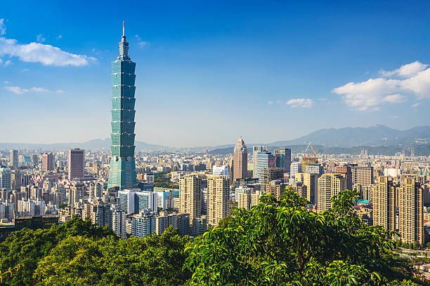 Taipei Skyline Taipei, Taiwan downtown skyline at the Xinyi Financial District. taiwan stock pictures, royalty-free photos & images