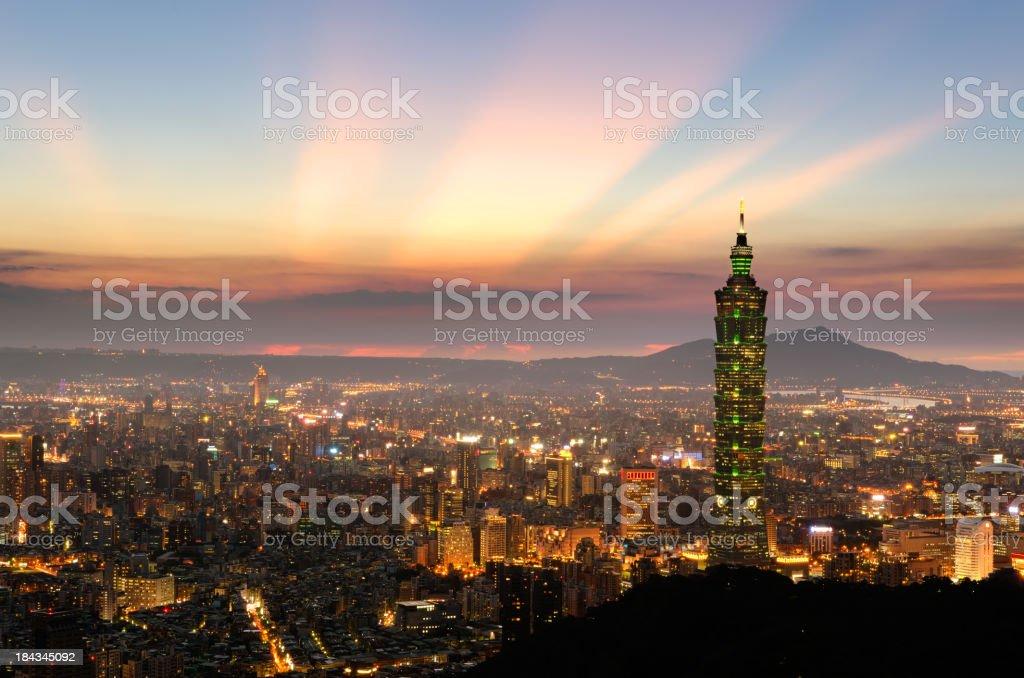 taipei sunset stock photo