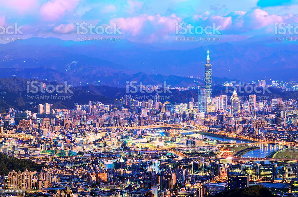 Taipei, Taiwan Cityscape from Neihu District. stock photo