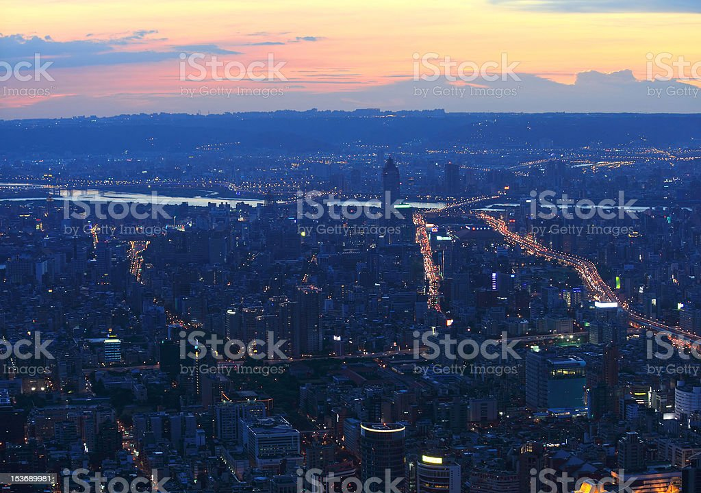 Taipei.Panoramic city skyline at sunset stock photo