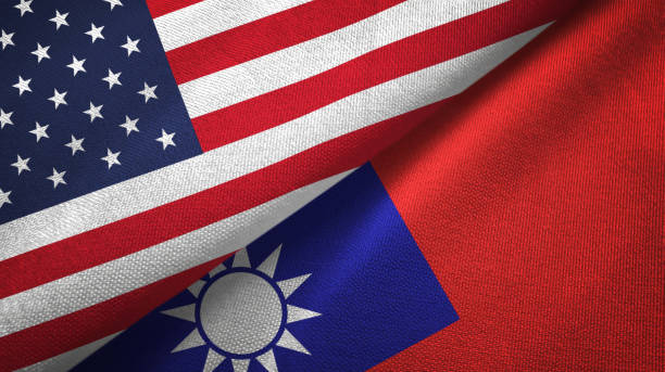 Taiwan and United States two flags together textile cloth, fabric texture Taiwan and United States flags together textile cloth, fabric texture taiwan stock pictures, royalty-free photos & images