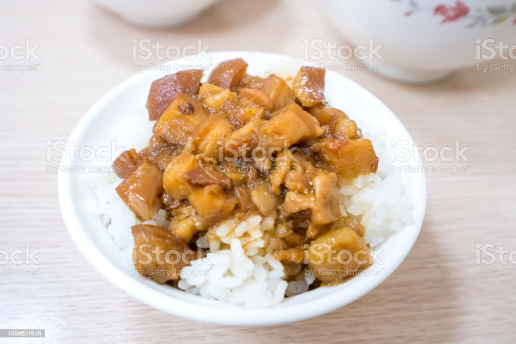Taiwan famous food - Braised pork over rice. Soy-stewed pork rice,...