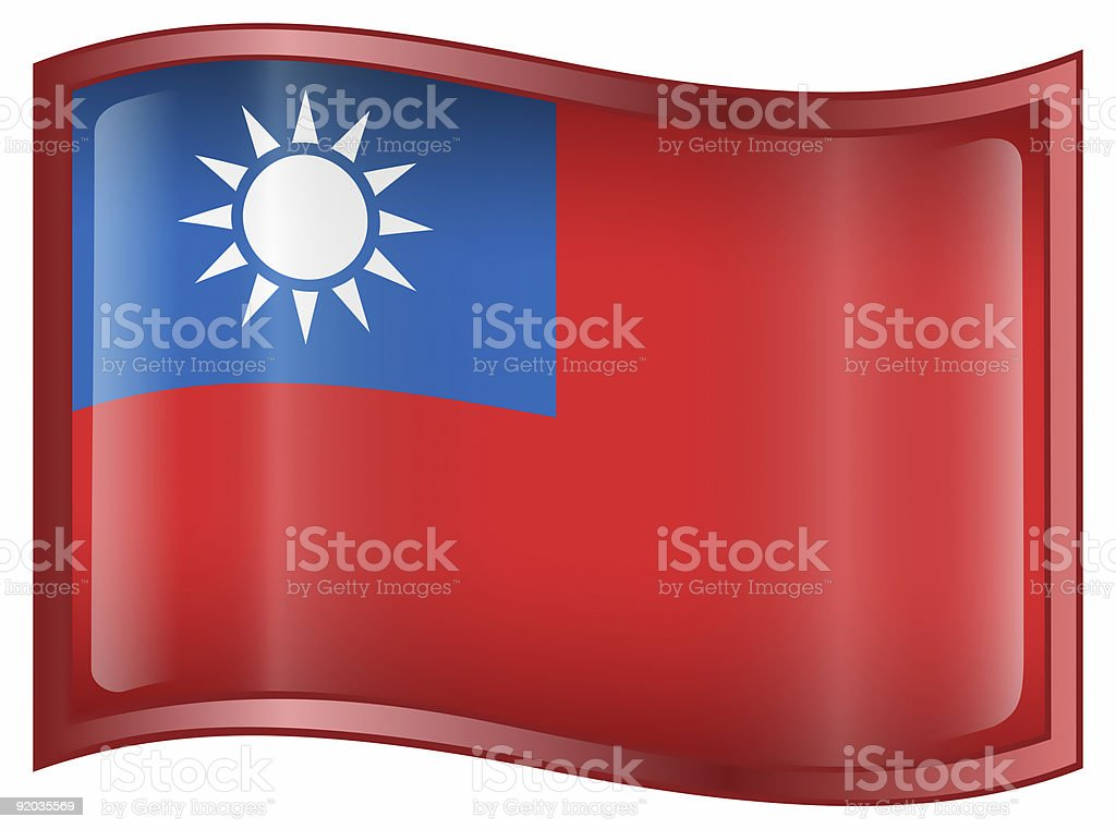 Taiwan Flag icon, isolated on white background. royalty-free stock photo
