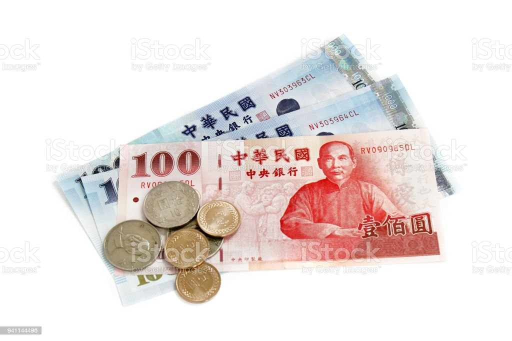 Taiwan money notes and coins stock photo