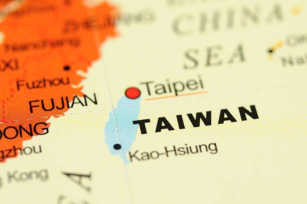 taiwan auf karte - insel taiwan stock-fotos und bilder