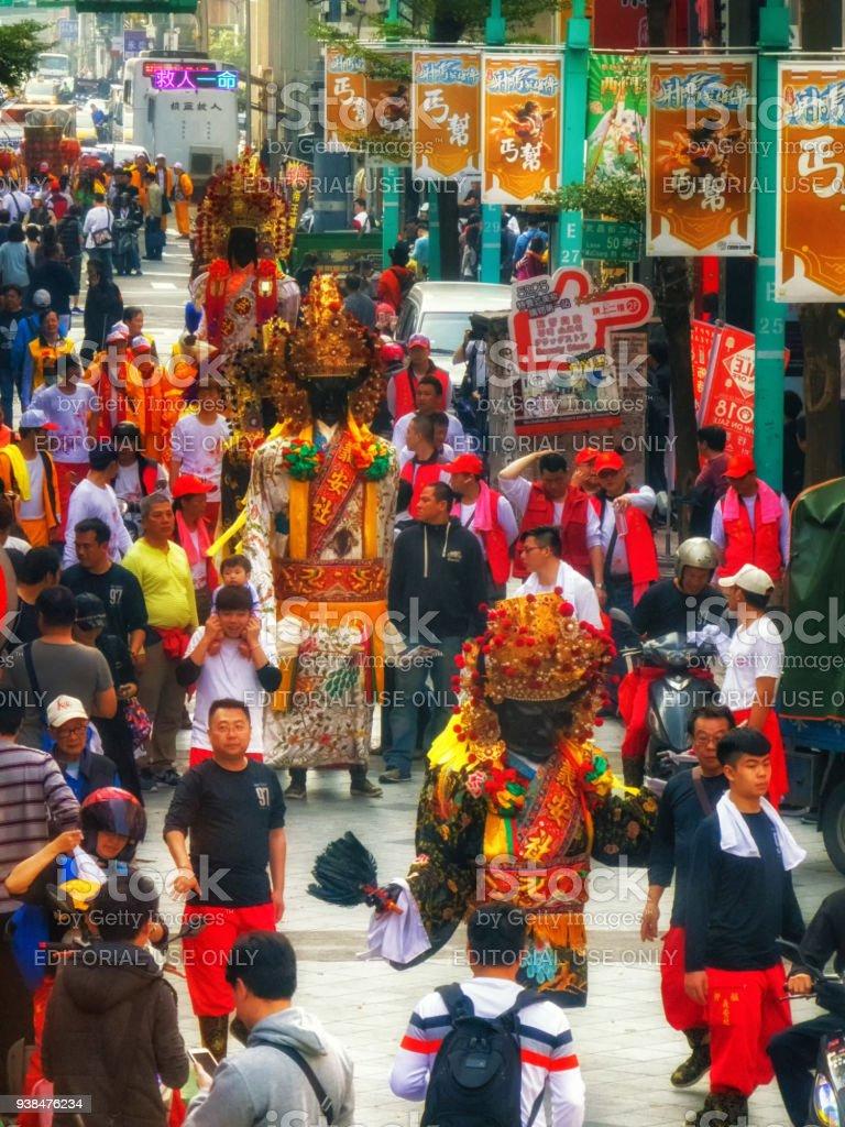Taiwan Taipei religious festival procession figures stock photo