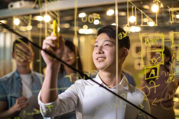 Taiwanesischer Unternehmer schreibt auf Glaswand auf Treffen – Foto