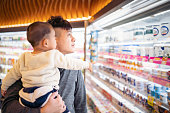 Taiwanese father and son shopping in a supermarket.