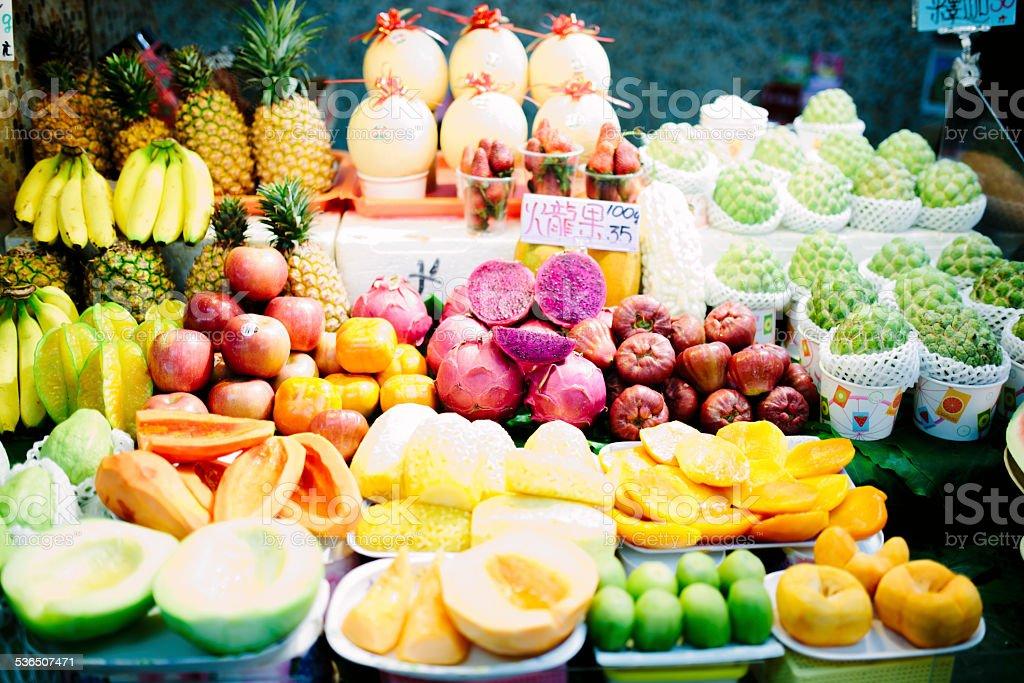 Taiwanese fruit market stall stock photo