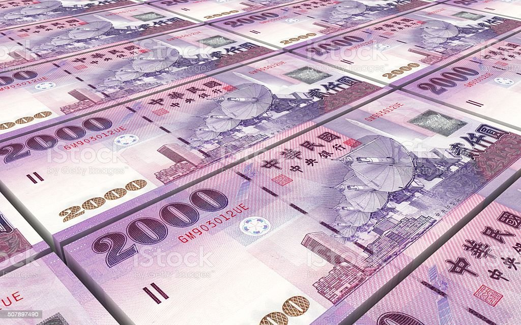 Taiwanese yuan bills stacks background. stock photo