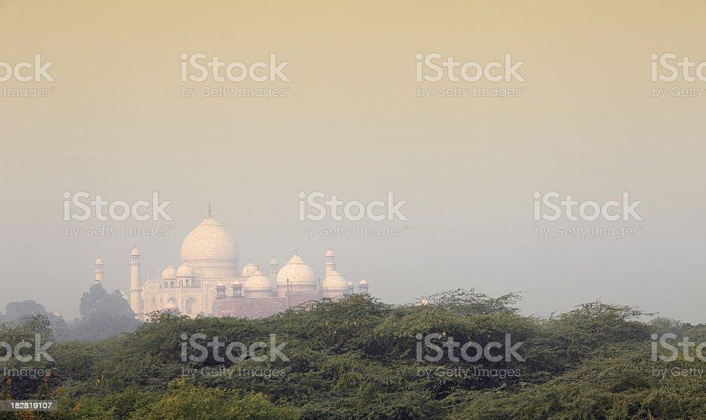 Taj in morning mist stock photo