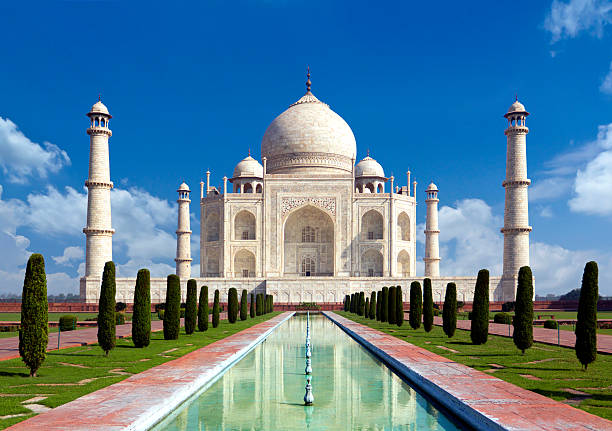 Taj mahal, Agra, India -monument of love in blue sky stock photo