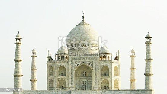 Taj Mahal in sunny day, india, no people.