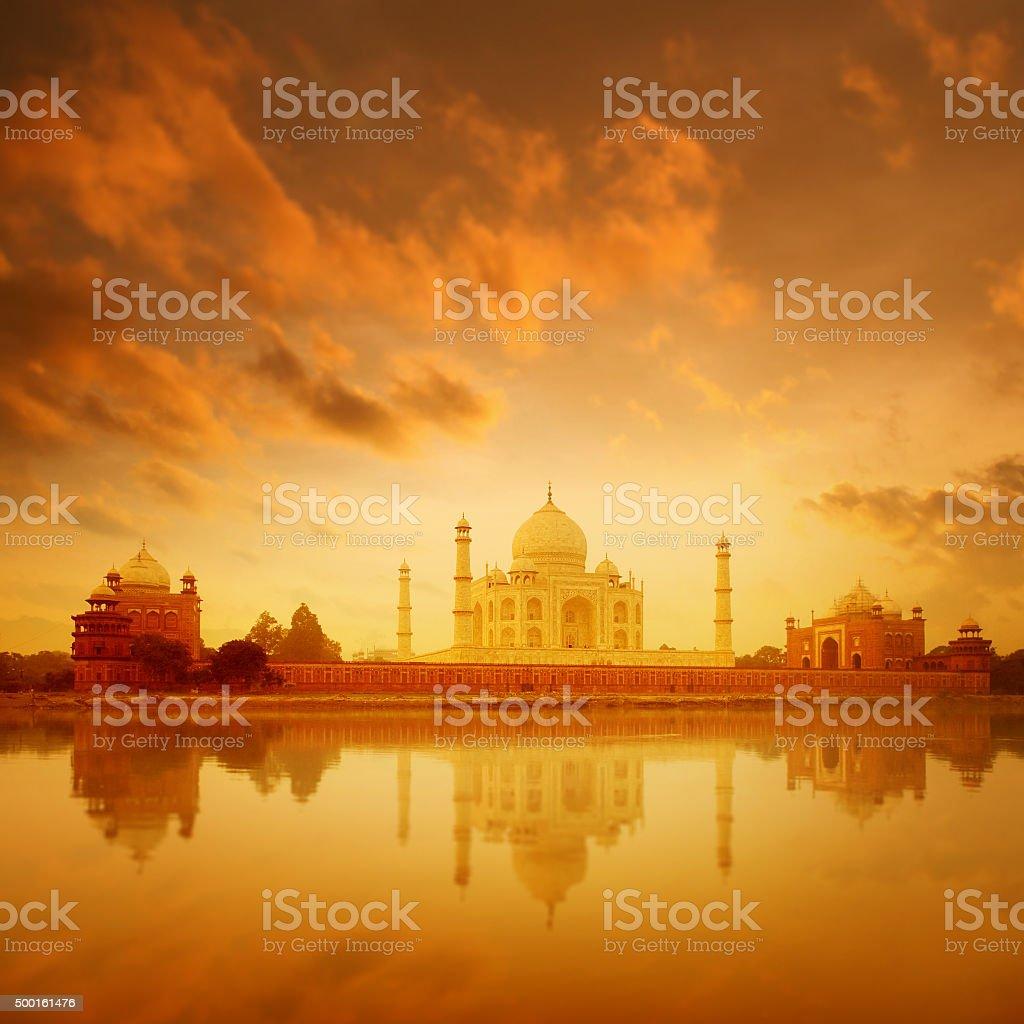 Taj Mahal Agra India on sunrise stock photo