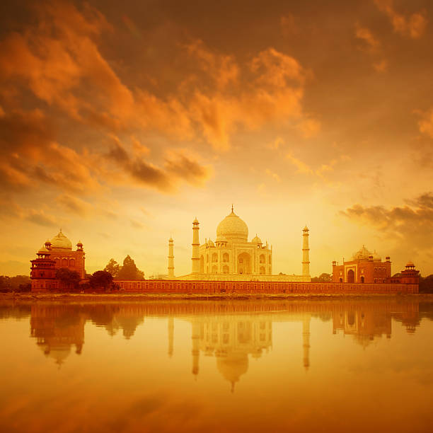 Taj Mahal Agra India on sunrise Taj Mahal in Agra, India on sunrise agra stock pictures, royalty-free photos & images
