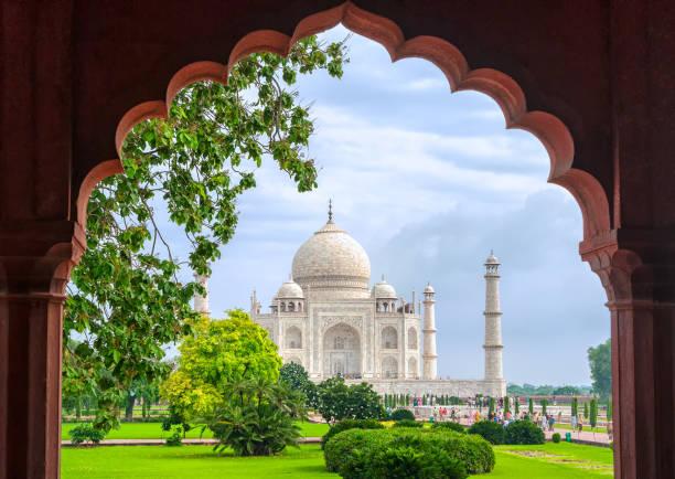 Taj Mahal, Agra, India Taj Mahal, view through the garden arch, Agra, India agra stock pictures, royalty-free photos & images