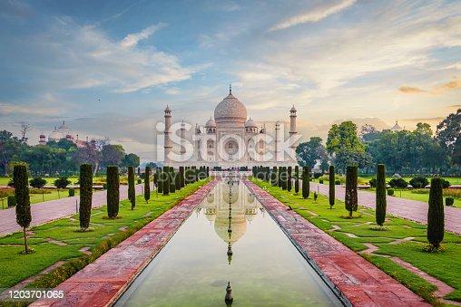 istock Taj Mahal Agra Moody Sunrise Twilight Relections India 1203701065