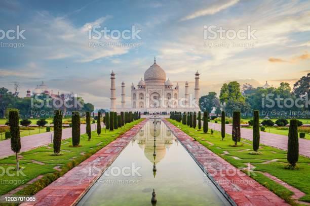 Taj Mahal Agra Moody Sunrise Twilight Relections India Stock Photo - Download Image Now