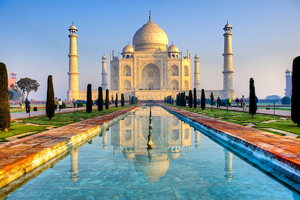 Taj Mahal and its reflection in pool, HDR  taj mahal stock pictures, royalty-free photos & images