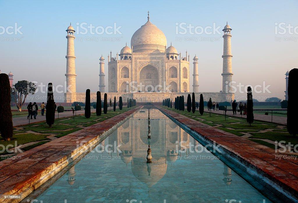 Taj Mahal and its reflection in pool stock photo