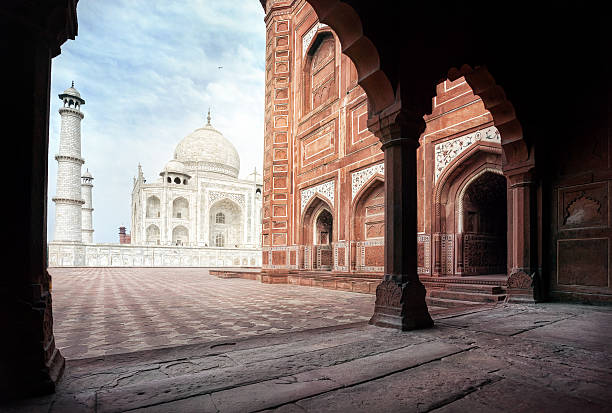 Taj Mahal and mosque in India stock photo