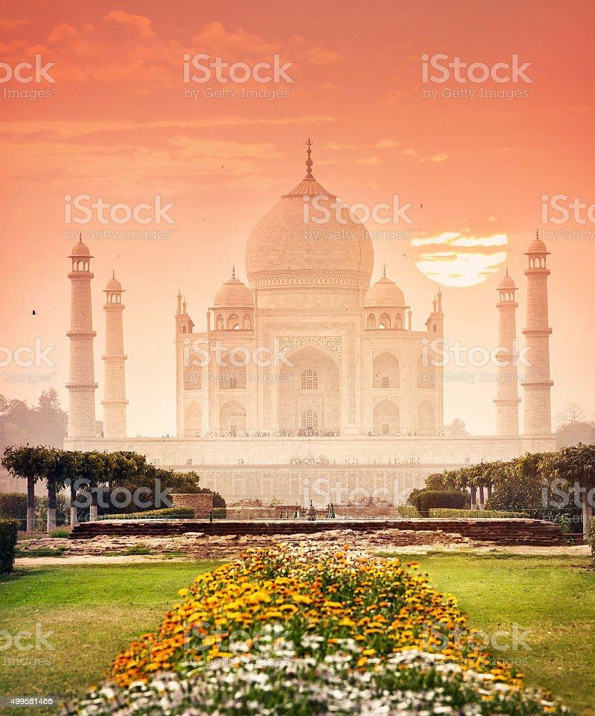 Taj Mahal at beautiful sunset in India stock photo