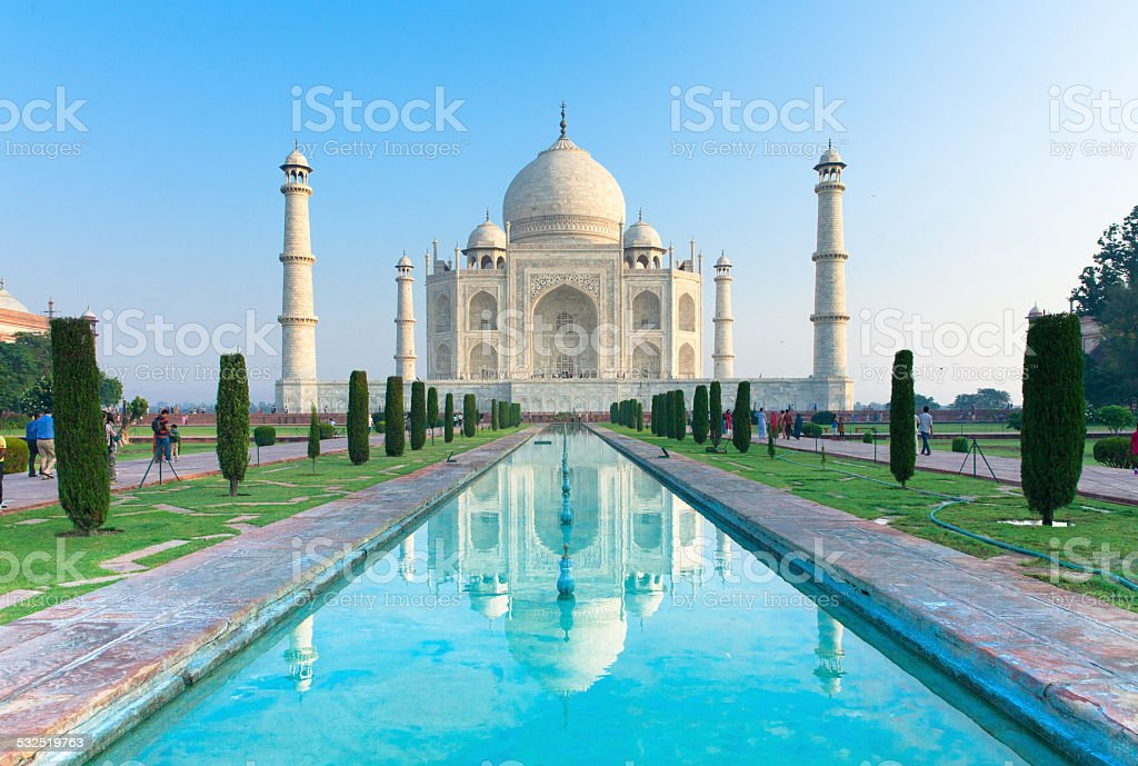 Taj Mahal at sunrise, Agra, India. stock photo